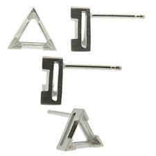 14k White Gold V-End Triangle Stud Earring Mounting Setting Push Back Post