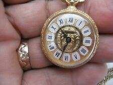INGERSOLL VINTAGE GOLD TONE HAND WINDING LADIES  PENDANT WATCH WITH CHAIN