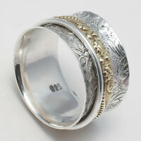 Solid 925 Sterling Silver Spinner Ring Meditation Ring Statement Ring Size SR745