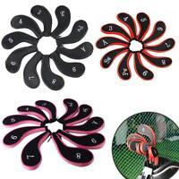 10pc Zipper Design Zippered Golf Iron Head Covers Club Putter Head Protection
