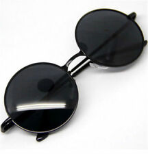 Men Women Round Metal Frame Sunglasses Black Lens Vintage Retro Eyewear Glasses