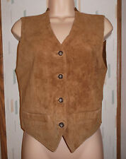 Norm Thompson Womans Light Brown Genuine Suede Leather Sweater Vest   Sz. S