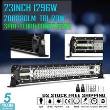 "1296W Tri-Row 23inch Cree Spot Flood LED Work Light Bar Offroad Truck 4WD 22/24"""