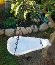 Custom made hanging bird feeder. Vintage Pear shaped white milk glass dish.