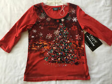Onque Casual Yuletide Glam Joy to the World Christmas Bedazzled Shirt Women's M