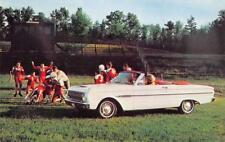 1963 FORD FALCON Sports Convertible Football Game Vintage Car Ad Postcard