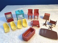 VTG Plastic Doll House Furniture Mixed Odd Lot of 15 items Marx / other makers