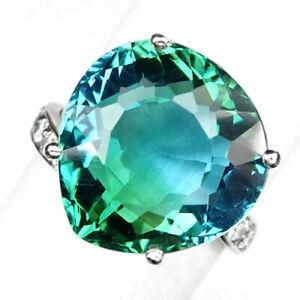 AMETRINE BI COLOR BLUE GREEN PEAR 14.30 CT. SAPP 925 STERLING SILVER RING SZ 6
