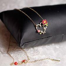 Collier Coeur Bourgeon Rose Fleur Rouge Mini Perle Mimi Original Mariage L8