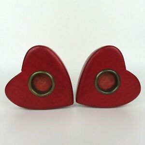 Red Heart Pair of 2 Candlestick Holders Wood Wooden Country Rustic Chic Farm VTG
