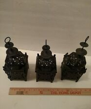 Moroccan Temple Tower Metal Pillar Votive Candle Holder / lot of 3