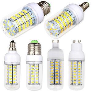 Dimmable E26 E12 E27 E14 G9 GU10 LED Corn Bulb 5730 SMD Light White Lamp Bright