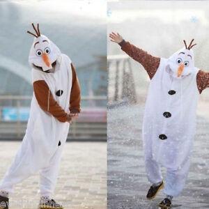 Olaf Frozen Adult Snowman Costume Kigurumi Pajamas Cosplay Pyjamas Fancy Dress H