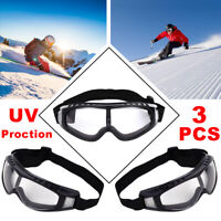 3x Anti-Dust Windproof Goggles Snow Skiing Glasses Snowmobile Sunglasses Eyewear