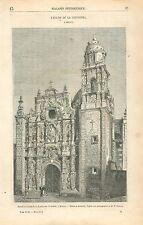 Eglise de la Santissima Trinidad Mexico Mexique GRAVURE ANTIQUE OLD PRINT 1863