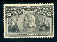 USAstamps Unused VF US 1893 $5 Columbian Columbus Scott 245 OG MNH