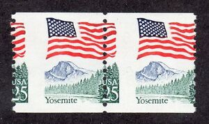 US # 2280 (1987) 25c - MNH - EFO: Misperf'ed pair. Holes through the FLAG!!!!