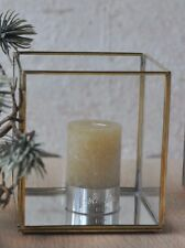 1x Windlicht Glas Messing Spiegel 10 x 10 x 11cm Stimmung gemütlich nordisch