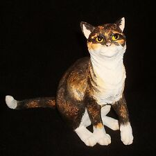 Country Artists Cat Figurine CA01578 Cat Sitting Tortoiseshell & White in Color