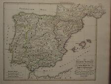 1846 SPRUNER ANTIQUE HISTORICAL MAP ~ IBERIAN PENINSULA 13th CENTURY SPAIN