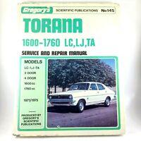 Torana 1600 - 1760 LC, LJ, TA Gregory's No 145 Service & Repair Manual 1971 / 75