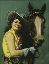 WESTERN COWGIRL PIN UP GUN HORSE EQUESTRIAN CALENDAR GIRL VINTAGE CANVAS ART