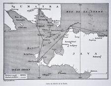 1880 Tour du Monde Map - Selat Sunda Strait - Sumatra Java Batavia Telok Betong