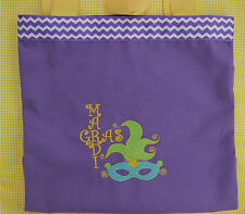 Mardi Gras Embroidered Purple Canvas Tote Bag - Mardi Gras Mask Tote Catch Beads