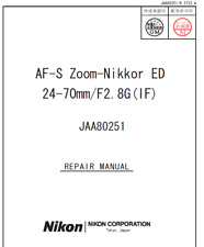 Nikon AF-S Nikkor 24-70mm f2.8 G ED IF Service Repair Manual + Parts List