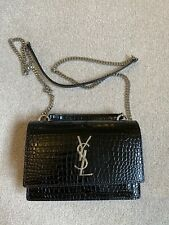 Saint Laurent Black Mock Croc Leather Mini Sunset Bag Handbag