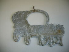 RARE 3D VINTAGE METAL ANTIQUE CAST IRON HEAVY COVERED WAGON TWO SIDED SIGN
