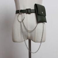 Punk Harajuku Belt Women Pu Leather Metal Waist Chain with Detachable Small Bag
