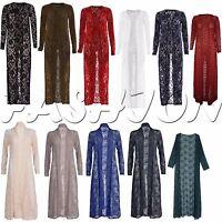 Women Long Length Lace Crochet Floral Open Ladies Boyfriend  Cardi Maxi Cardigan