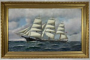 ANTONIO JACOBSEN (1850-1921) Original Oil on Board SAILING SHIP 1916