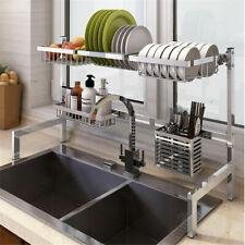 Stainless Steel Kitchen Tool Storage Holders Plate Dish Shelf Rack Drying Drain