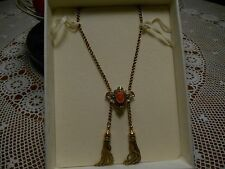"""Victorian c.1890 Carved Coral Cameo 14K Yellow Gold 17"""" Double Tassel Necklace"""