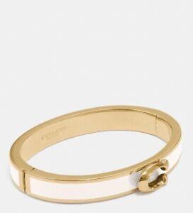 NWT COACH Signature Push Hinged Bangle Bracelet Jewelry Gold Chalk White F67480