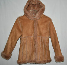 Dollhouse Girls Brown Faux Suede Jacket with Cuddly Faux Fur Lining Sz XL