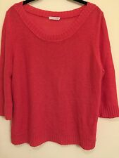 EILEEN FISHER Sweater Top Red/Pink 100% Linen Knit Boat Neck S