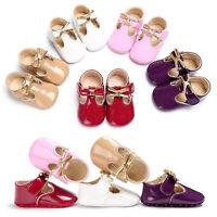 Petit Enfant Nouveau-Né Fille Cuir Chaussures Crèche Doux Mocassin Baptême