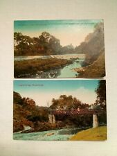 2 Postcards of Musselburgh Jooglie Bridge salmon ladder Scotland Edwardian Topo