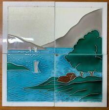 Japan vintage collectible rare landscape antique art nouveau majolica tile 4pc