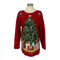 Carly St. Claire red ugly christmas tree sweater women's size small