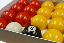 """BNIB Red And Yellow Standard 2"""" Pool Balls Pub Grade with 1 7/8"""" Cue Ball"""
