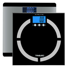 LCD Glass Digital Bathroom Scale 400lbs Body Fat BMI Muscle Bone Weight Fitness