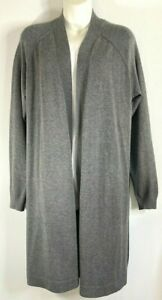 89th & Madison Cardigan Sweater Woman L Gray Soft Warm Open Front Tunic Length