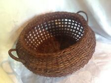 Vintage Weaved Wicker / Reed Basket Ornate Round Crafts Bowl With Handles