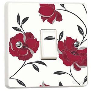 Red Floral Light Switch Sticker Vinyl Arthouse Opera Charleston