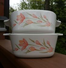 Vintage Set Corning Ware PEACH FLORAL Casserole Baking Dishes 700 ML EUC