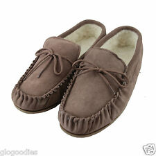 Unisex Hardsole Camel Lambswool Suede Moccasins - Ladies / Mens Slippers